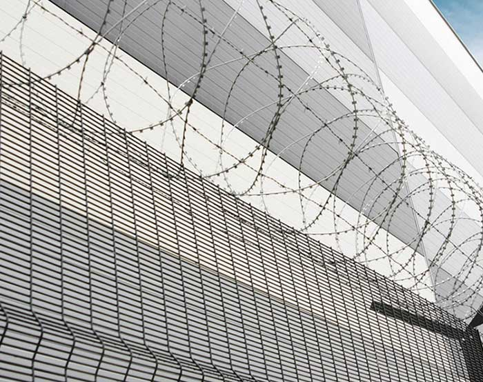 High security fence with razor wire