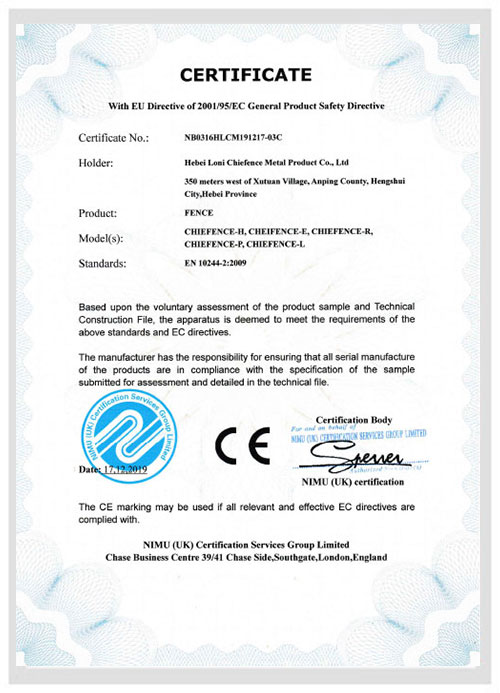 CE Certificate ChieFence